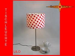 Tischlampe rot weiß gepunktet LILO Tischleuchte