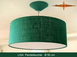Grüne Hängelampe aus Jute LISA Ø50 cm  mit Diffusor