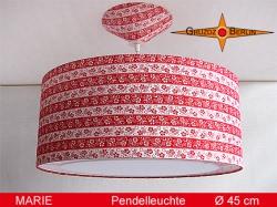 Gestreifte Hängelampe Rot Weiss MARIE Ø45 cm aus Vintagestoff