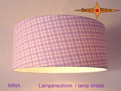 Lila karierter Lampenschirm NINA Ø45 cm