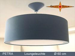 Große graue Hängelampe mit Lichtrand Diffusor PETRA Ø60 cm