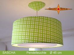 Grün karierte Lampe SASCHA Ø45 cm  mit Lichtrand Diffusor