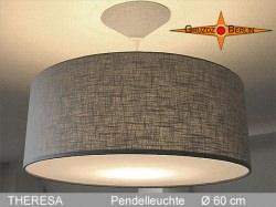 Graue Lampe aus Leinen mit Diffusor THERESA Ø60 cm