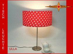 Rote Tischlampe mit Blumen und Punkten ULLA