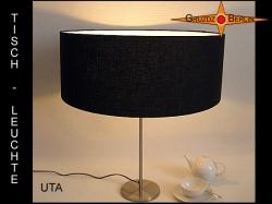 Schwarze Tischlampe aus Leinen UTA