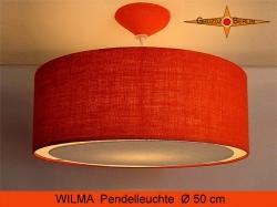 Orange Hängelampe aus Jute mit Diffusor WILMA Ø50 cm