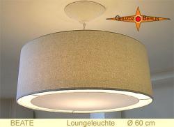 Beige Hängelampe aus Seide BEATE Ø60 cm  mit Lichtrand Diffusor
