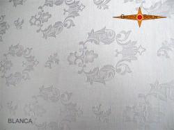 Weisser Lampenschirm aus Damast BLANCA Ø60 cm