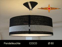 Schwarz weisse Lampe COCO Ø60 cm mit Diffusor