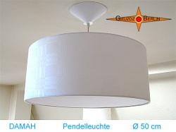 Weiße Lampe aus Damast DAMAH Ø50 cm mit Diffusor