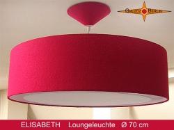 Grosse rote Lampe aus Seide mit Lichtrand Diffusor  ELISABETH Ø70 cm