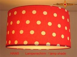 Roter Lampenschirm mit Punkten HANS Ø35 cm