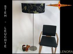 Elegante Stehlampe aus schwarzem Leinen LENORA