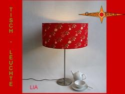 Rote Tischlampe mit Blumen LIA