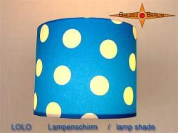 Blauer Lampenschirm mit Punkten LOLO Ø25 cm Kinderzimmerlampe