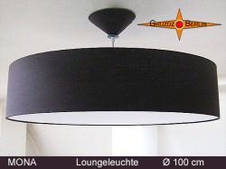 Braune Loungeleuchte MONA Ø100 cm XXL Pendellampe mit Diffusor Leinenlampe