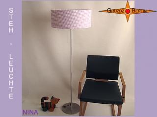 Stehlampe lila kariert NINA Stehleuchte weiss violett