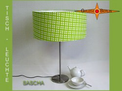 Grüne Tischlampe kariert SASCHA