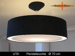 Große Hängelampe schwarz UTA Ø70 cm Loungeleuchte mit Diffusor Leinen