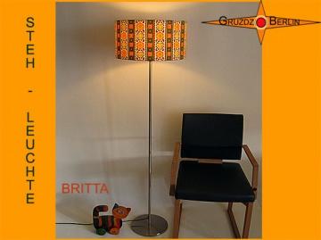 Vintage Stehlampe BRITTA Stehleuchte aus Retro Stoff