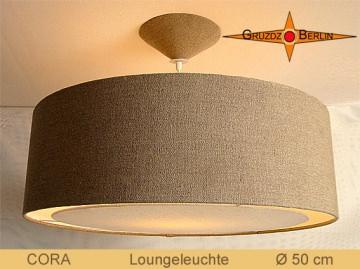 Lampe aus Bauernleinen CORA Ø50 cm Landhausstil Lampe Diffusor Lichtrand