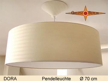 Große Lampe beige DORA Ø70 cm Pendellampe mit Diffusor und Streifen
