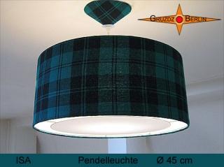 Karierte Lampe ISA Ø45 cm Pendellampe mit Lichtrand Diffusor Seide