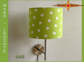 Grüne Wandlampe LALE gepunktete Wandleuchte weiß grün