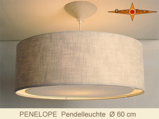 Pendellampe Leinen Lichtrand-Diffusor PENELOPE Ø60 cm Hängelampe Landhausstil