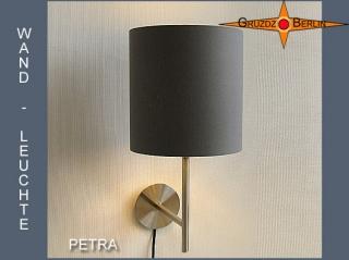 Wandleuchte Grau PETRA Graue Wandlampe aus Baumwoll Twill