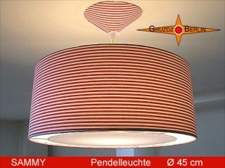 Hängelampe gestreift SAMMY Ø45 cm Diffusorleuchte Rot Weiss