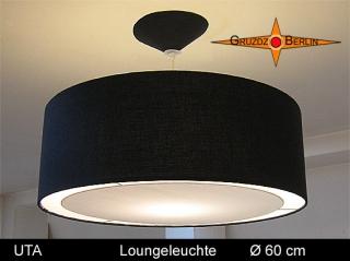 Schwarze Lampe Schwarz UTA Ø60 cm schwarze Pendellampe mit Lichtrand Diffusor