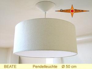 Beige Lampe aus Seide BEATE Ø50 cm Hängelampe mit Diffusor Seide
