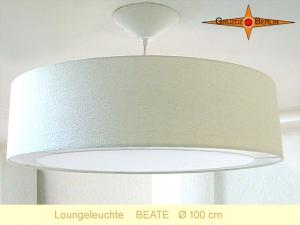 XXL Hängelampe BEATE Ø100 cm Loungeleuchte aus Seide mit Lichtrand Diffusor