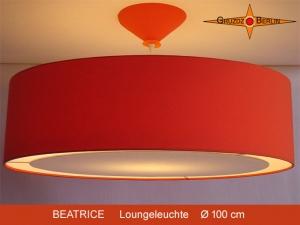 Orange Lampe aus Leinen BEATRICE  Ø100 cm Diffusor XXL Hängelampe