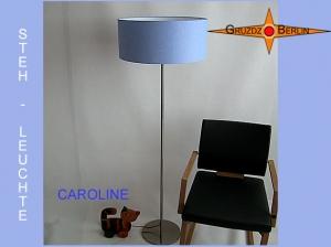 Hellblaue Stehlampe CAROLINE Stehleuchte Blaues Leinen