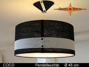 Hängelampe schwarz weiss COCO Ø45 cm Leuchte mit Diffusor Leinen