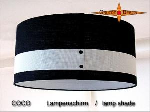 Lampenschirm Schwarz weiss Leinen COCO Ø45 cm Zylinderlampenschirm