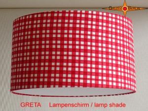 Rot karierter Lampenschirm GRETA Ø35 cm Kinderlampe