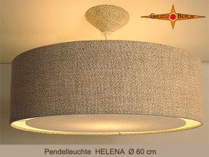 Große Lampe HELENA Ø60 cm Hängelampe mit Diffusor Leinen