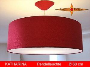 Rote Loungelampe KATHARINA Ø60 cm Pendellampe Seide Jacquard