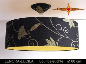Schwarze Lampe mit gelbem Diffusor LENORA-LUCILA Ø60 cm Pendellampe mit Diffusor