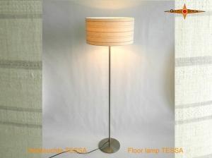Gestreifte Stehlampe aus Leinen TESSA beige Stehleuchte