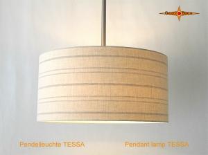Gestreifte Hängelampe aus Leinen mit Diffusor TESSA Ø45 cm beige