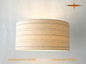 Lampenschirm aus Leinen mit Streifen TESSA Ø50 cm Leinenlampe