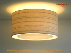 Gestreifte Deckenlampe aus Leinen TESSA Ø45 cm mit Lichtrand Diffusor