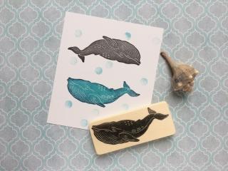 handgeschnitzter Stempel Wal, Walfisch Stempel, DIY, zum selber Drucken und Verschönern, für Scrapbooking, Artjournalling, Bullet Journals, Stoffe bedrucken und viel mehr!