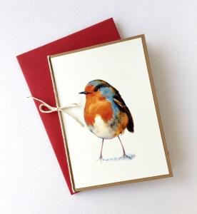 Handgemachte Grußkarte Rotkehlchen mit Umschlag und Schleifchen
