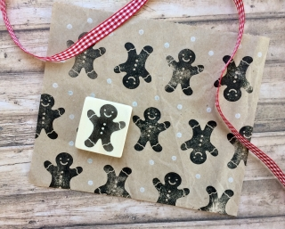 handgeschnitzter Stempel Lebkuchen Mann, Pfefferkuchen Mann Weihnachtstempel, DIY, Kartengestaltung, Geschenkverpackung