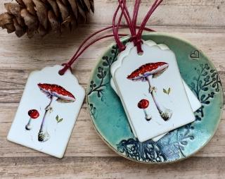 6 Geschenkanhänger Fliegenpilz,  6Tags 100% Handmade